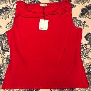 Calvin Klein NWT Red Sleeveless Cowl Neck